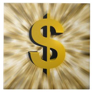 Muestra del dinero azulejo cuadrado grande