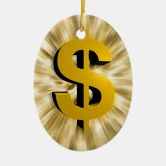 Muestra del dinero adorno ovalado de cerámica