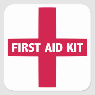 Muestra del equipo de primeros auxilios pegatina cuadrada