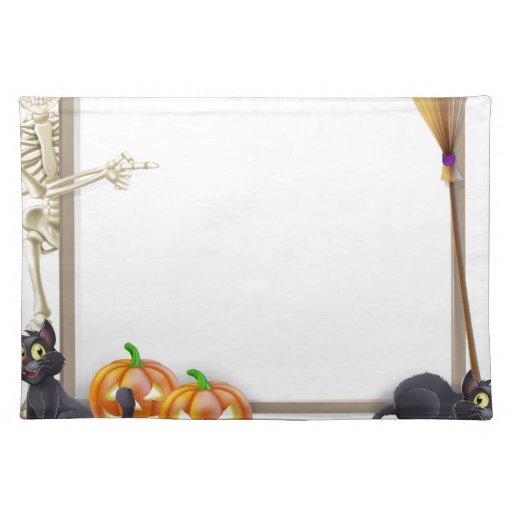 Muestra del esqueleto de Halloween Manteles Individuales