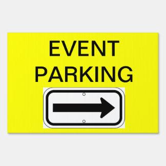 Muestra del estacionamiento del acontecimiento carteles
