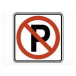 Muestra del estacionamiento prohibido postal