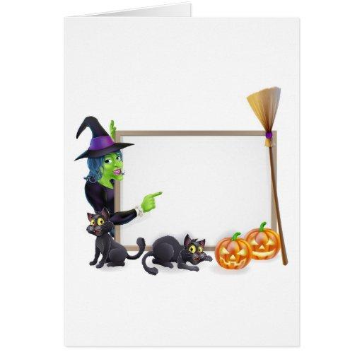 Muestra del fondo de la bruja de Halloween Tarjeta De Felicitación