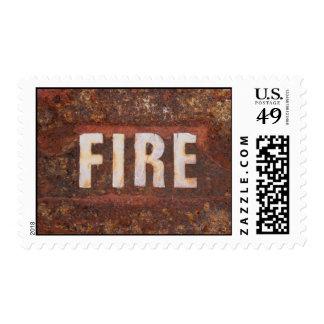 Muestra del fuego en la placa de acero sellos postales