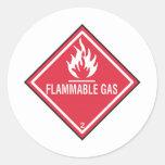 Muestra del gas inflamable pegatina redonda