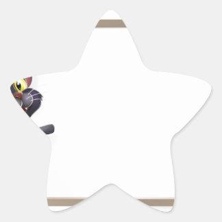 Muestra del gato negro de Halloween Calcomanías Forma De Estrellas Personalizadas