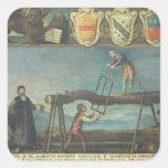 Muestra del gremio de los trabajadores venecianos calcomanías cuadradass