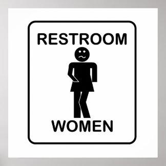 Muestra del lavabo de las mujeres divertidas póster