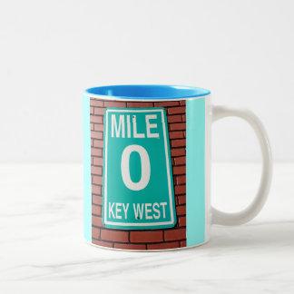 Muestra del marcador 0 de la milla taza de café