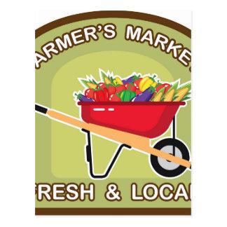 Muestra del mercado del granjero fresca y local tarjeta postal