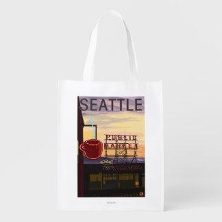 Muestra del mercado del lugar de SeattlePike y Bolsa Para La Compra