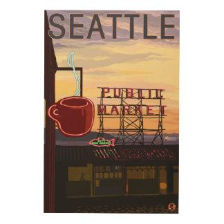 Muestra del mercado del lugar de SeattlePike y Cuadro De Madera
