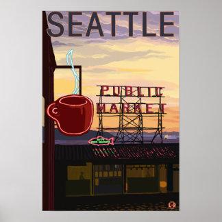 Muestra del mercado del lugar de SeattlePike y opi Póster