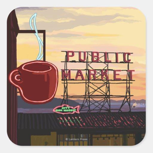 Muestra del mercado del lugar de SeattlePike y Calcomania Cuadradas