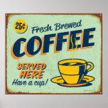 Muestra del metal del vintage - café elaborado cer póster