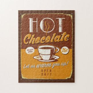 Muestra del metal del vintage - chocolate caliente puzzle con fotos