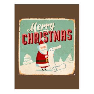 Muestra del metal del vintage - Felices Navidad Tarjetas Postales