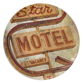 Muestra del motel de la estrella del vintage platos