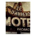 Muestra del motel del sombrero del EL del vintage Postales