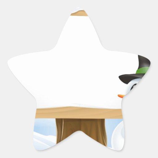 Muestra del muñeco de nieve del navidad calcomania cuadrada personalizada