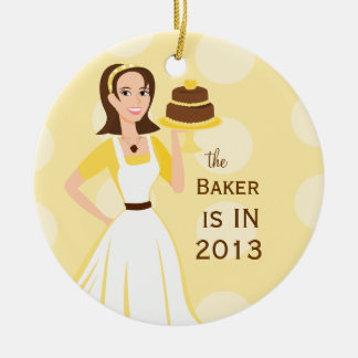 Muestra del panadero in/out adorno navideño redondo de cerámica