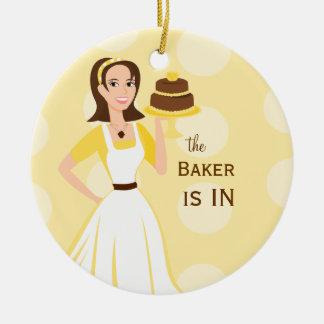 Muestra del panadero in/out adorno redondo de cerámica