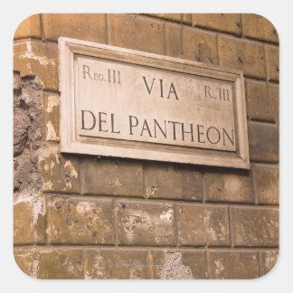Muestra del panteón Roma Italia 2 Pegatinas Cuadradas Personalizadas
