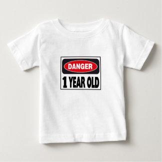 Muestra del peligro de 1 año playera de bebé
