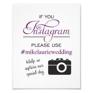 Muestra del poster del boda de Instagram - púrpura Impresiones Fotograficas