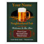 Muestra del Pub de la vecindad (personalizada) Poster