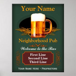 Muestra del Pub de la vecindad (personalizada) Póster