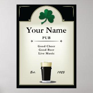 Muestra del Pub, Pub irlandés, personalizado Impresiones