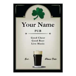 Muestra del Pub, Pub irlandés, personalizado Póster