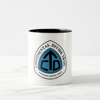 Muestra del rastro de la divisoria continental, taza de café de dos colores