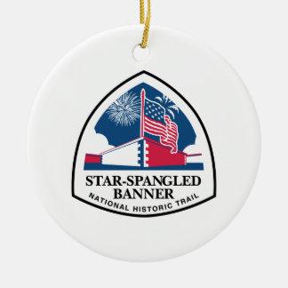 Muestra del rastro del himno americano, los adorno navideño redondo de cerámica