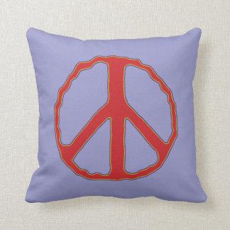Muestra del rojo y del azul del ~ de la paz cojin