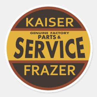 Muestra del servicio de Kaiser Frazer del vintage Pegatina Redonda