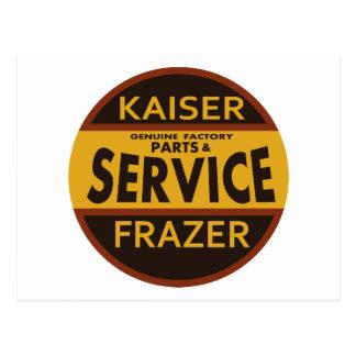 Muestra del servicio de Kaiser Frazer del vintage Tarjetas Postales