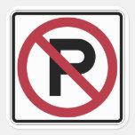 Muestra del símbolo del estacionamiento prohibido pegatinas