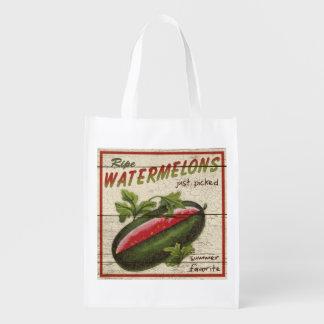 Muestra del soporte de la granja del vintage, bolsas de la compra