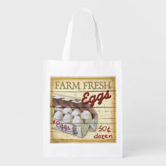 Muestra del soporte de la granja del vintage, huev bolsa reutilizable