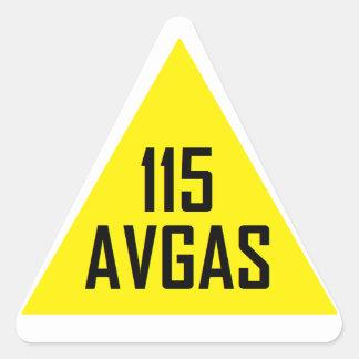 Muestra del tanque de 115 Avgas Pegatina Triangular