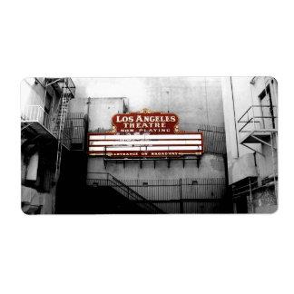 Muestra del teatro de Los Ángeles del vintage Etiqueta De Envío
