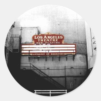 Muestra del teatro de Los Ángeles del vintage Pegatina Redonda