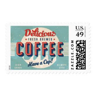Muestra del vintage - café elaborado cerveza timbre postal