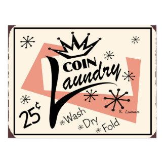 Muestra del vintage del lavadero de la moneda postal