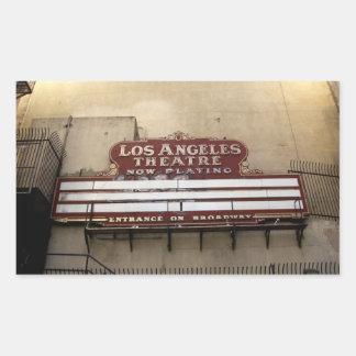 Muestra del vintage del teatro de Los Ángeles Pegatina Rectangular