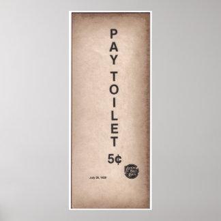 Muestra del vintage - retrete 5¢ de la paga poster