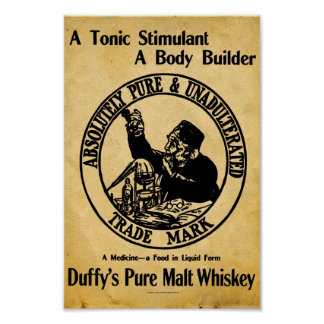 Muestra del whisky de malta de Duffys del vintage Poster