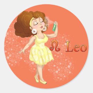 Muestra del zodiaco de Leo del horóscopo de la Pegatina Redonda